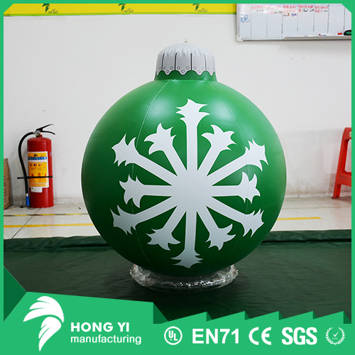 Wholesale Christmas decorations hanging green snowflake inflatable Christmas ball
